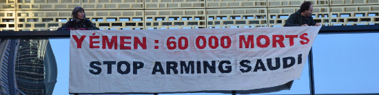 Yemen, 60,000 dead. Stop arming Saudi Arabia, the banner says
