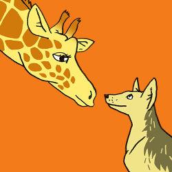 Afbeelding jakhals en giraf