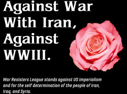 Banner: Aganst war with iran