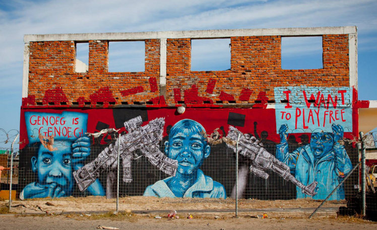 Muurschildering in Kaapstad